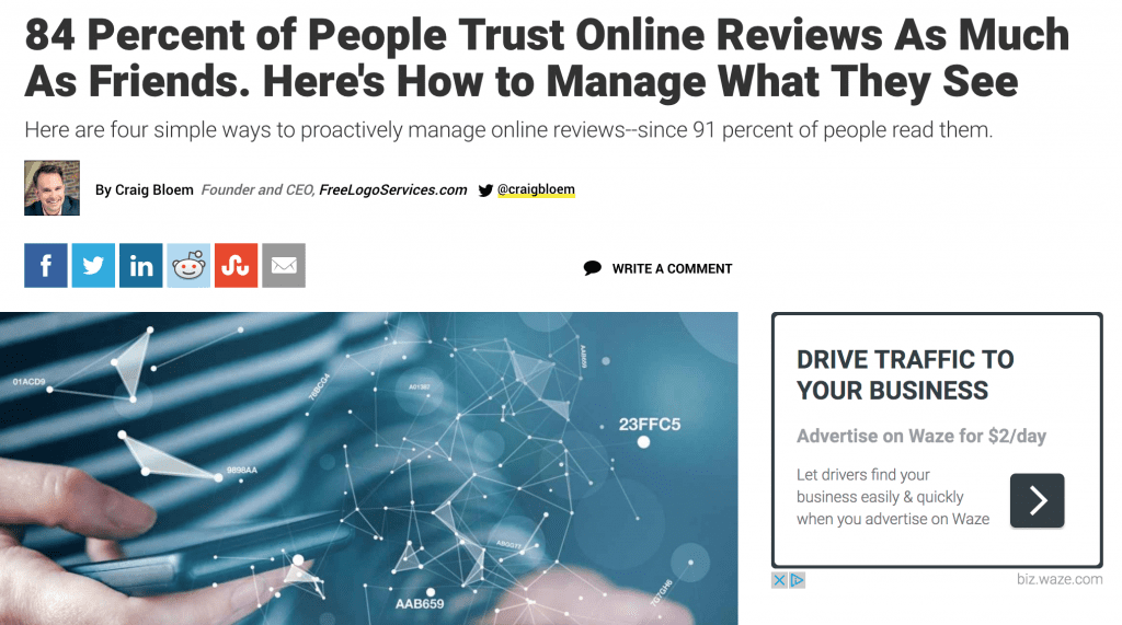 84% of people trust online reviews
